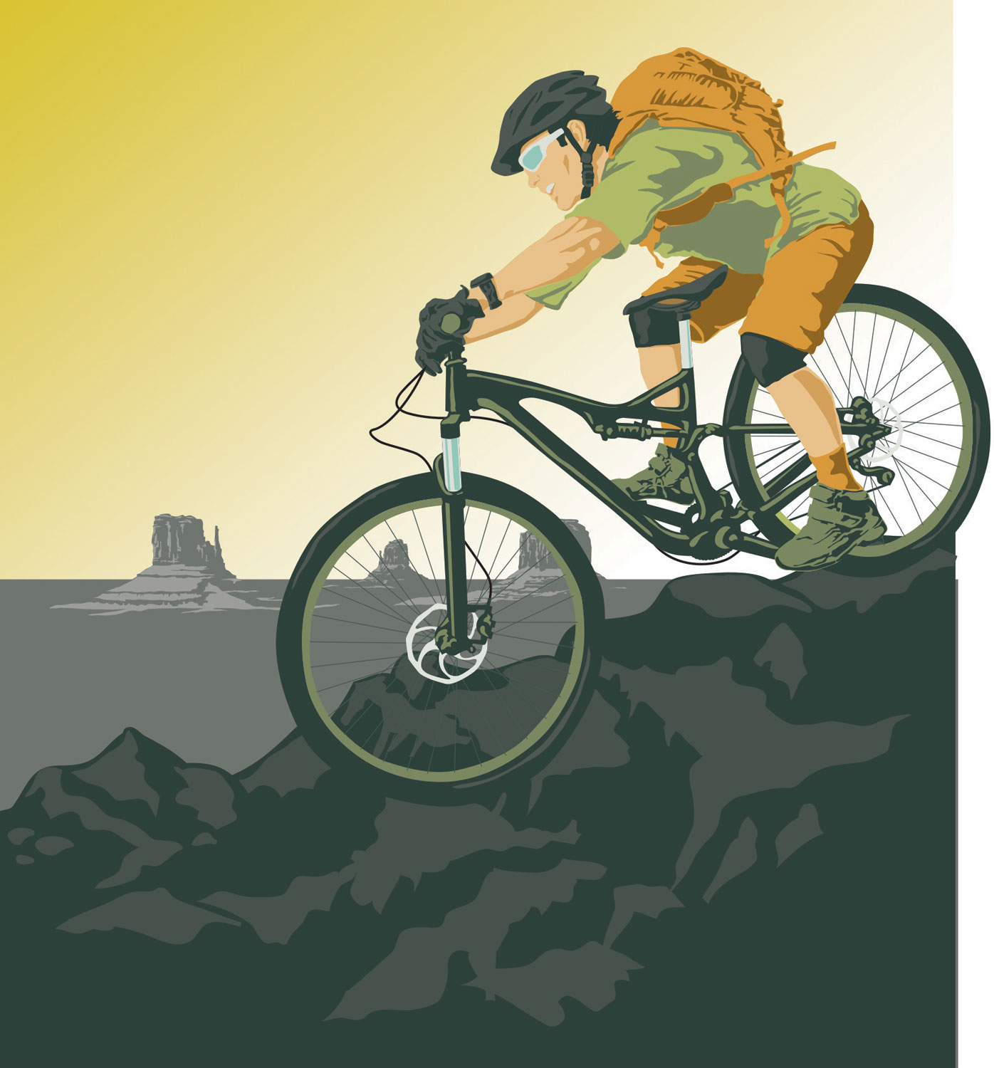 Mountain biking illustration