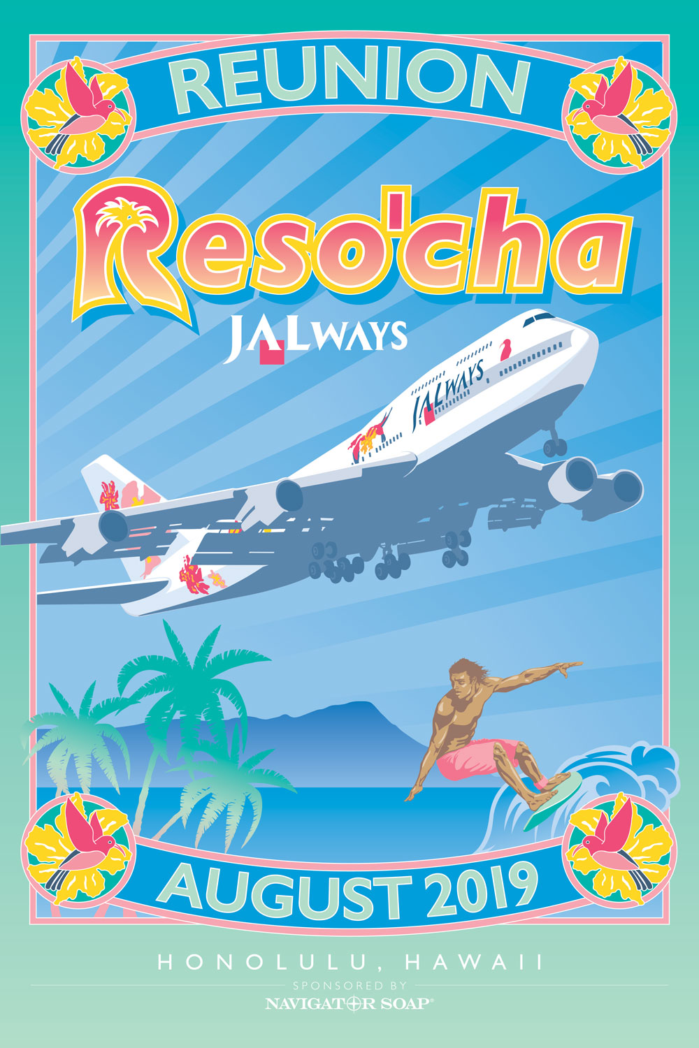 JAL ways Reso'cha Travel Poster