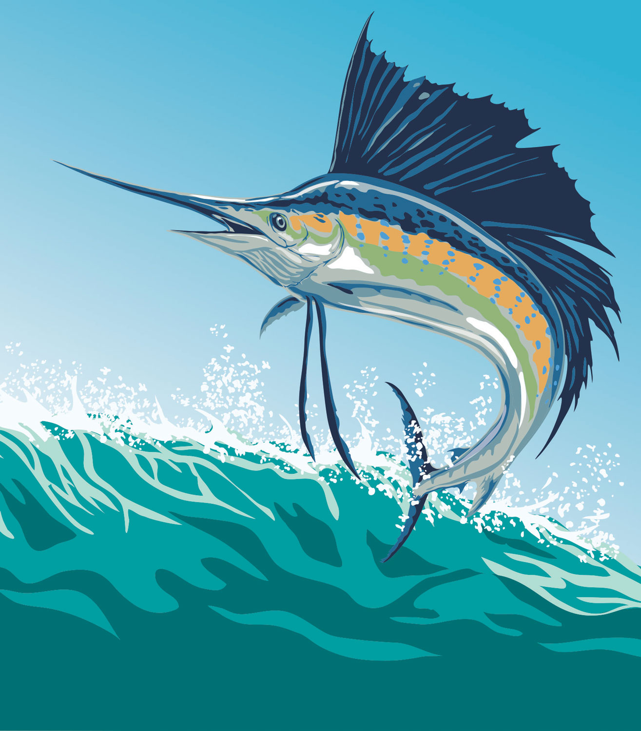 Sailfish jumping out of the water illustration