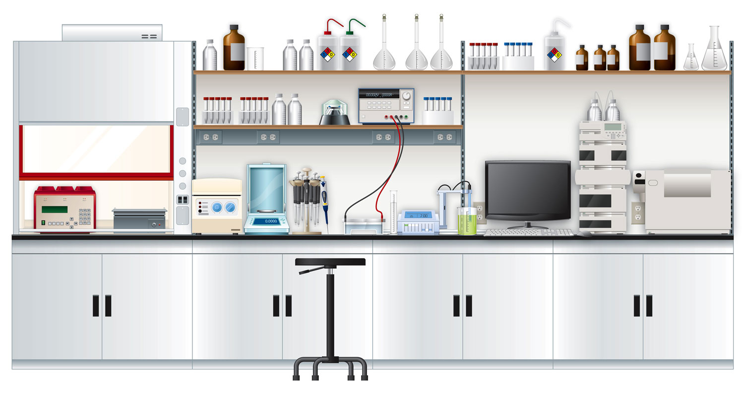 Laboratory workbench illustration