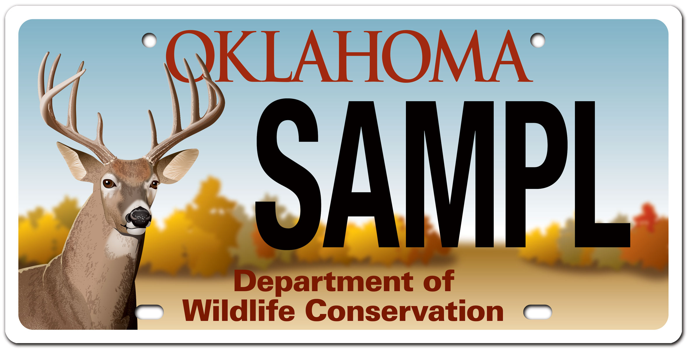 Oklahoma Wildlife whitetail buck license plate